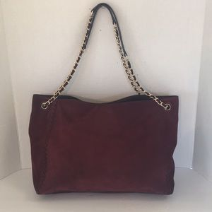 Tory Burch burgundy Marion suede whipstitch tote